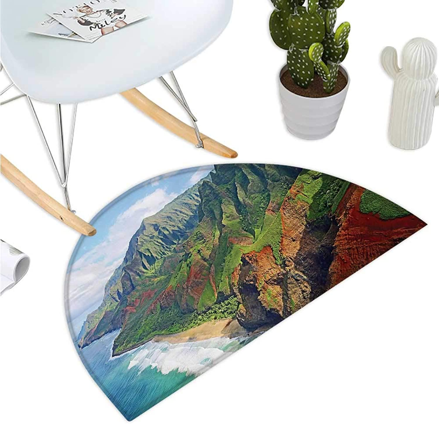 Hawaiian Semicircular Cushion Na Pali Coast Kauai Hawaii Seashore Greenery Adventurous Journey Landscape Entry Door Mat H 39.3  xD 59  Green Redwood bluee