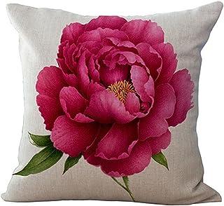 Cikuso Vintage Floral/Flor de Lino Decorativo Throw Pillow Case Funda de cojin Inicio Sofa Decorativo Rosa