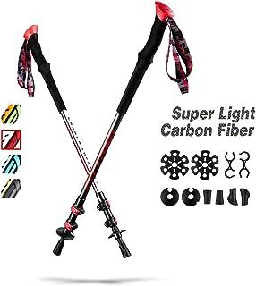 FitTrek Carbon Fiber Trekking Poles - Lightweight Telescoping Hiking Poles All Terrain - Collapsible Walking Sticks for Men Women Kids 2 Pack