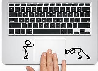 "MacBook 対応 アートステッカー  "" Cute Cartoon -Pushing and Standing Silhouette ""- Trackpad / Keyboard (BLACK) 並行輸入品"