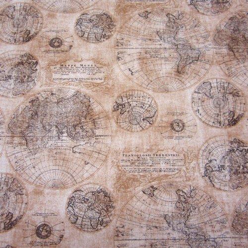 Stoff Meterware Nostalgie Karte Weltkarte Globus braun beige