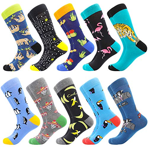 Men's Fun Dress Socks Patterned Crew Colorful Funky Fancy Novelty Funny Casual Socks for Men, 10 Pairs-zoo1, US 8-12 / EU 41-46