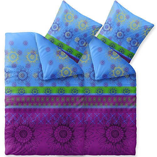CelinaTex Fashion Bettwäsche 135x200 cm 4teilig Baumwolle Laureen Blumen Violett Blau Grün