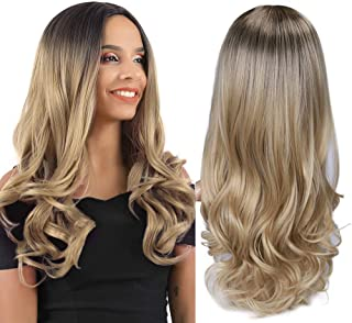 HANNE Ombre Blonde Wigs Long Wavy Party Wigs Dark Brown to Blonde Synthetic Hair Wigs for Women (4/Blonde)