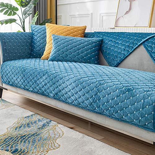 HXTSWGS Cojín de Felpa para sofá, cojín Acolchado de Invierno, Funda de sofá de Tela Antideslizante, Azul 1_70 * 70cm