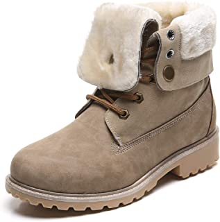 Women's Round Toe Waterproof Outdoor Lace up Work Combat Ankle Bootie Fur Lined Warm Winter Snow Boots