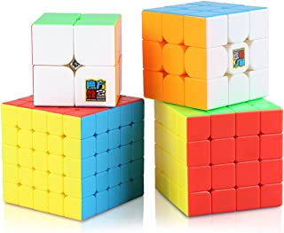 Aitey Speed Cube Set, Moyu Cube Bundle MF2S 2x2 3x3 4x4 5x5 Stickerless Magic Cube Puzzle Toys for Kids Gift Box (4 Pack)