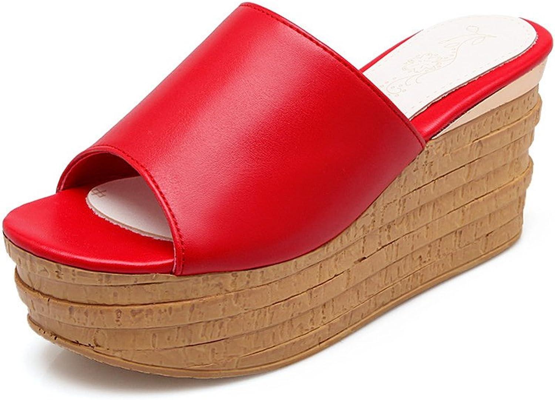 Lucksender Womens Wedge Heels Platform Open Toe Fashion Slippers
