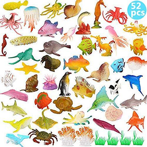 BESTZY 52pcs Meerestiere Fische Deko Plastik Spielzeug Realistisch Unterwasser Tiere Badespielzeug MeerestiereFiguren für Kinder Zum Lernen Party Kuchen