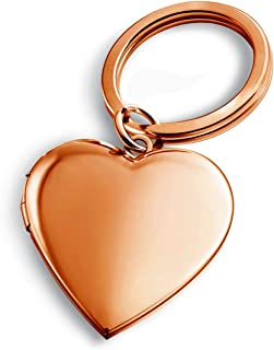 Heart Keychains Rose Gold Plated Locket Necklace That Holds Pictures Key Chain for Women Men