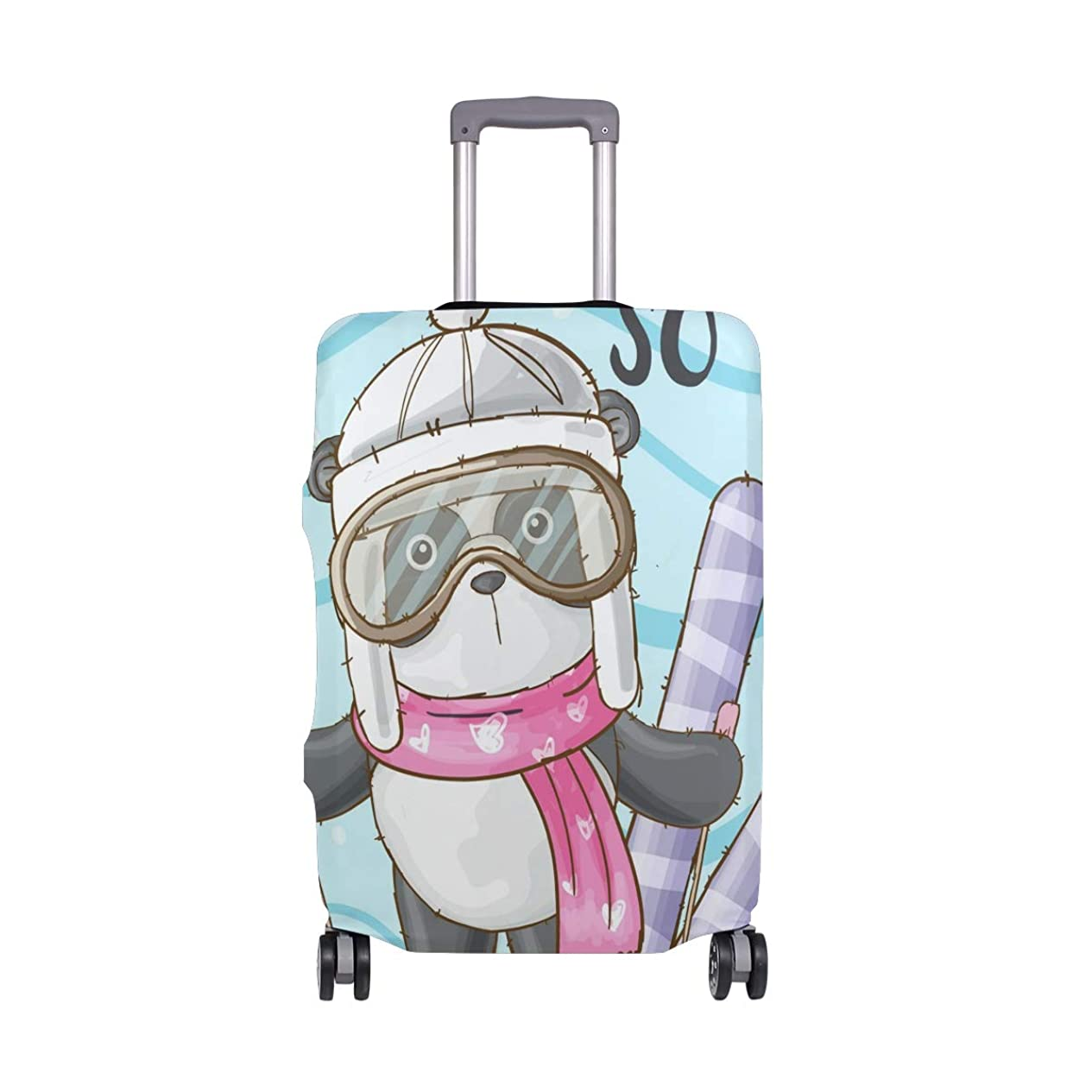灰紳士満足させるかわいい動物 パンダ スーツケースカバー 弾性素材 おしゃれ トラベルダストカバー 傷防止 防塵カバー 洗える 18-32インチの荷物にフィット