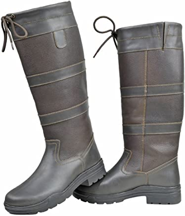HKM Equestrian Adults Belmond Winter Fashion Fur Elasticated Leather Long Boots : boots