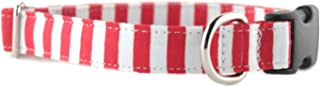 Striped Dog Collar - Red and White Stripe Dog Collar - Candy Stripe Dog Collar - Pet Collar - Holiday Collar - Christmas Collar