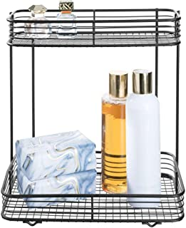 iDesign Vienna 2 - Tier Rectangular Shelf for Cosmetics and Toiletry Storage, Bathroom, Countertop, Desk, and Vanity - Matte Black