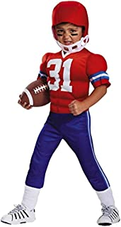 Toddler Boys Muscle Football Player Costume with Muscle Uniform & Helmet 2T