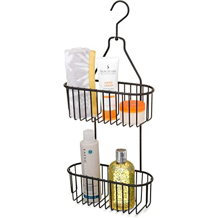 simplywire - 2 Tier Hanging Shower Caddy - Rust Resistant - Black