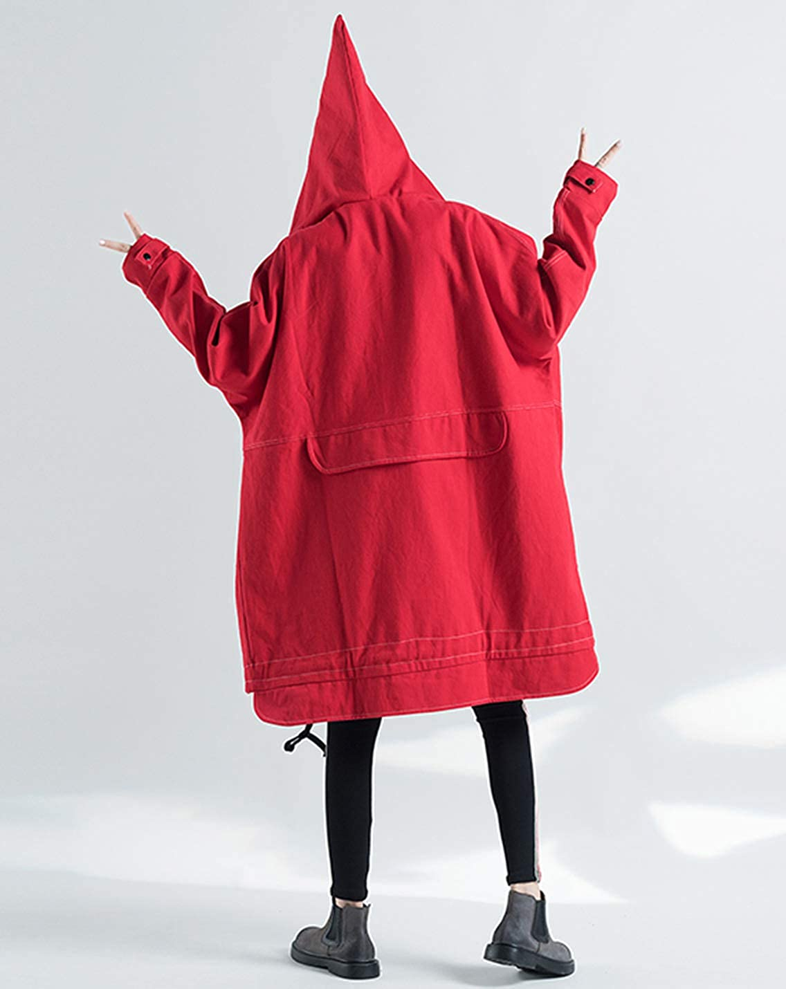 Gihuo Women's Mid Long Oversized Hooded Denim Jean Jacket Black/Red