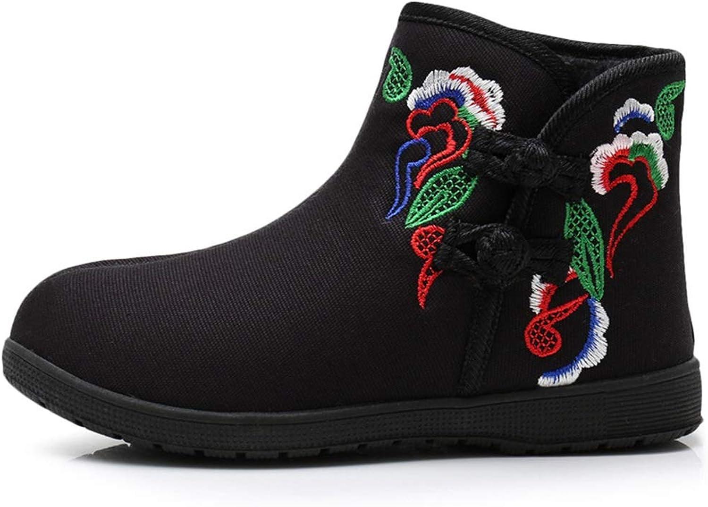 YAN Frauen Besteickte Schuhe Baumwolle Stiefel Folk-benutzerdefinierte Rutschfeste warme Schuhe Hochzeit lssig Party & Abend