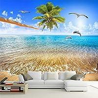 カスタム3D壁壁画美しい海の景色ココナッツイルカ自然風景写真壁紙リビングルームテレビソファ背景壁の装飾,250(W)*175(H)Cm