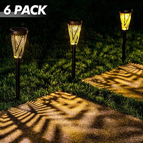 LeiDrail Solar Wegleuchten Gartenleuchte Außenweg Beleuchtung LED-Pfahl Landschaftsdekoration für Patio Yard Einfahrt Wasserdichtes Metall - 6er Pack