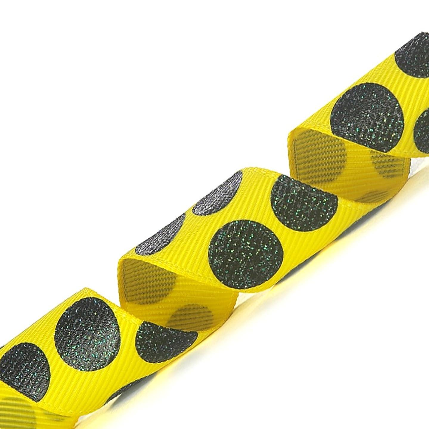Morex Ribbon Sugar Dots Glitter Grosgrain Ribbon, 7/8-Inch by 20-Yard, Daffodil/Black