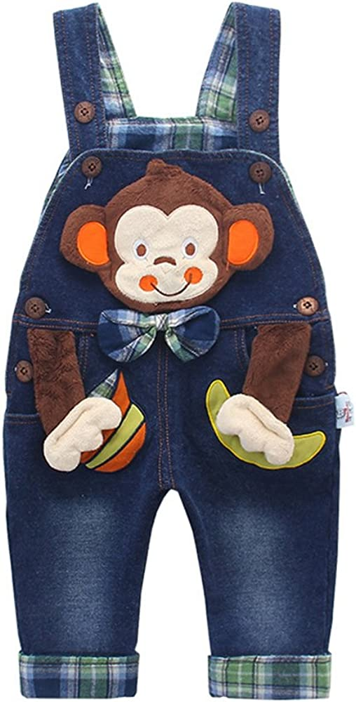 KIDSCOOL SPACE Baby Boy Girl Jean Overalls,Toddler Denim 3D Monkey Outfit
