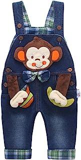 Kidscool Baby & Little Boys/Girls Cotton 3D Cartoon Monkey Denim Overalls