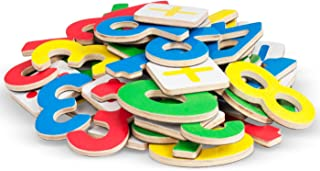 Premium Magnetic Wooden Numbers - 26 Brightly Colored Wooden Magnets – Educational Fun & Preschool Learning – 2 Sets of 0-9 & 6 Math Symbols signs + Booklet. Great Gift for Improve Math Skills!