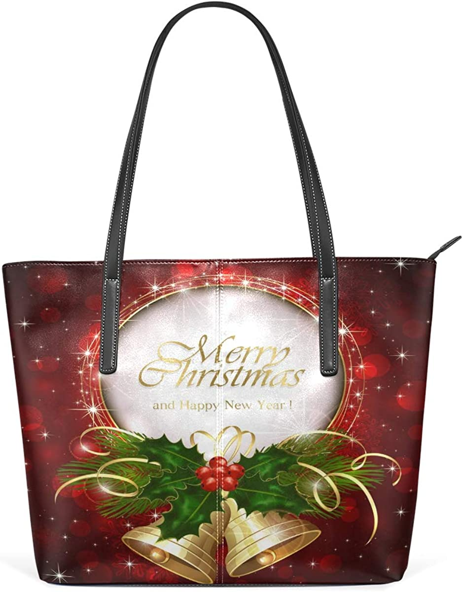 Merry Christmas Bell Red PU Leather for Women Tote Bag High-cap 2021new shipping free Genuine Free Shipping