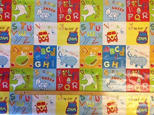 Table Luxury Cloth Nappe en vinyle PVC ABC lettres de l'alphabet Chambre d'enfant Animaux terrasse en toile cirée facile à nettoyer 140 cm de large et 1/2 Demi Mètre de longueur