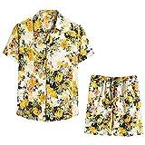 YSYOkow Chándal floral de 2 piezas para hombre con botones, manga corta, camisa hawaiana y pantalones cortos