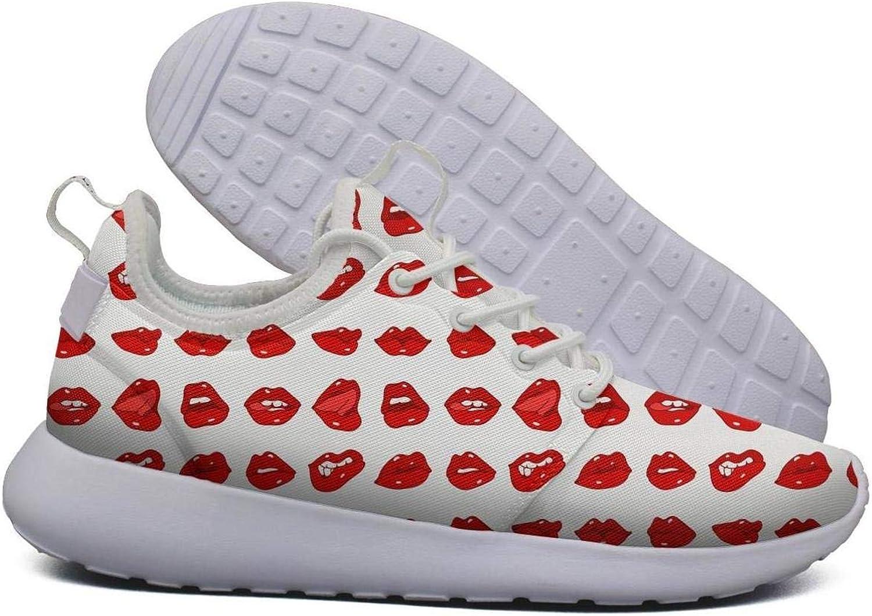 Hoohle Sports Womens red Lips Art Flex Mesh Roshe 2 Lightweight Soft Cross-Country Running shoes