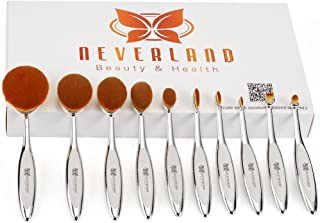 Neverland Beauty 10pcs Hit Color Silver & White Toothbrush Elite Make-up Brushes Set Powder Foundation Contour with Case Box