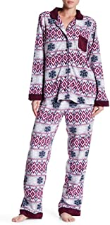 Notch Collar Printed 2-Piece Pajama Set, Large