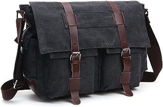 LOSMILE Herren Umhängetasche Schultertasche 16 Zoll Kuriertasche Canvas Laptop Tasche Messenger Bag für Arbeit und Schule. L, Shwarz