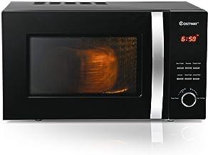 COSTWAY Microondas 23L, 800W,5 Niveles de Potencia Calentar y Descongelar para Hogar Oficina Color Negro