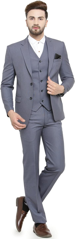 LUXURAZI Menâ s Grey Raymond Sapphire Terry Wool 3 Piece Suit
