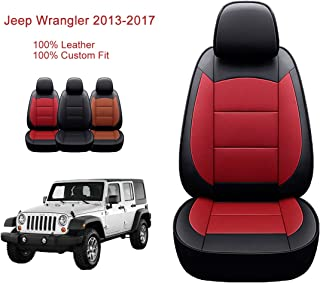 Oasis Auto Jeep Wrangler 2013-2017 Custom Exact Fit Leather Seat Cover for 2013, 2014, 2015, 2016, 2017 (Red&Black)