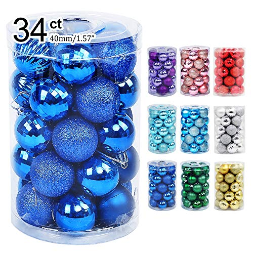 "Lulu Home Christmas Ball Ornaments, 34 Ct Xmas Tree Decorations, Holiday Hanging Balls (Blue, 1.57"")"