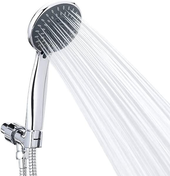 手持淋浴头高压 5 喷雾设置按摩 Spa 可拆卸手持淋浴头镀铬面部带软管和可调节支架