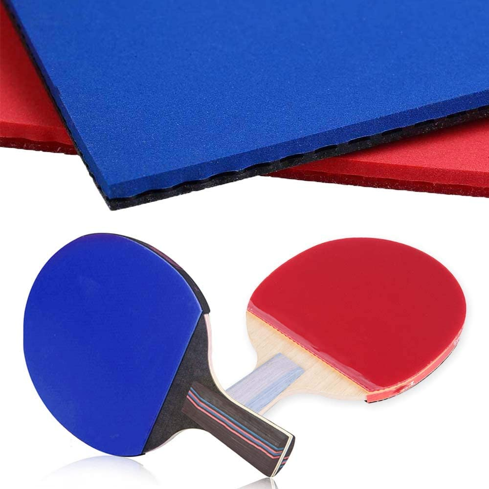 HonYong 2 esponjas de goma para raquetas de tenis de mesa, color rojo y negro