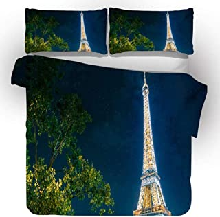 3D Duvet Cover Sets, City Building Scape Design, Neon Night View Pattern Duvet/Quilt Cover and Pillowcase, Lightweight Sup...