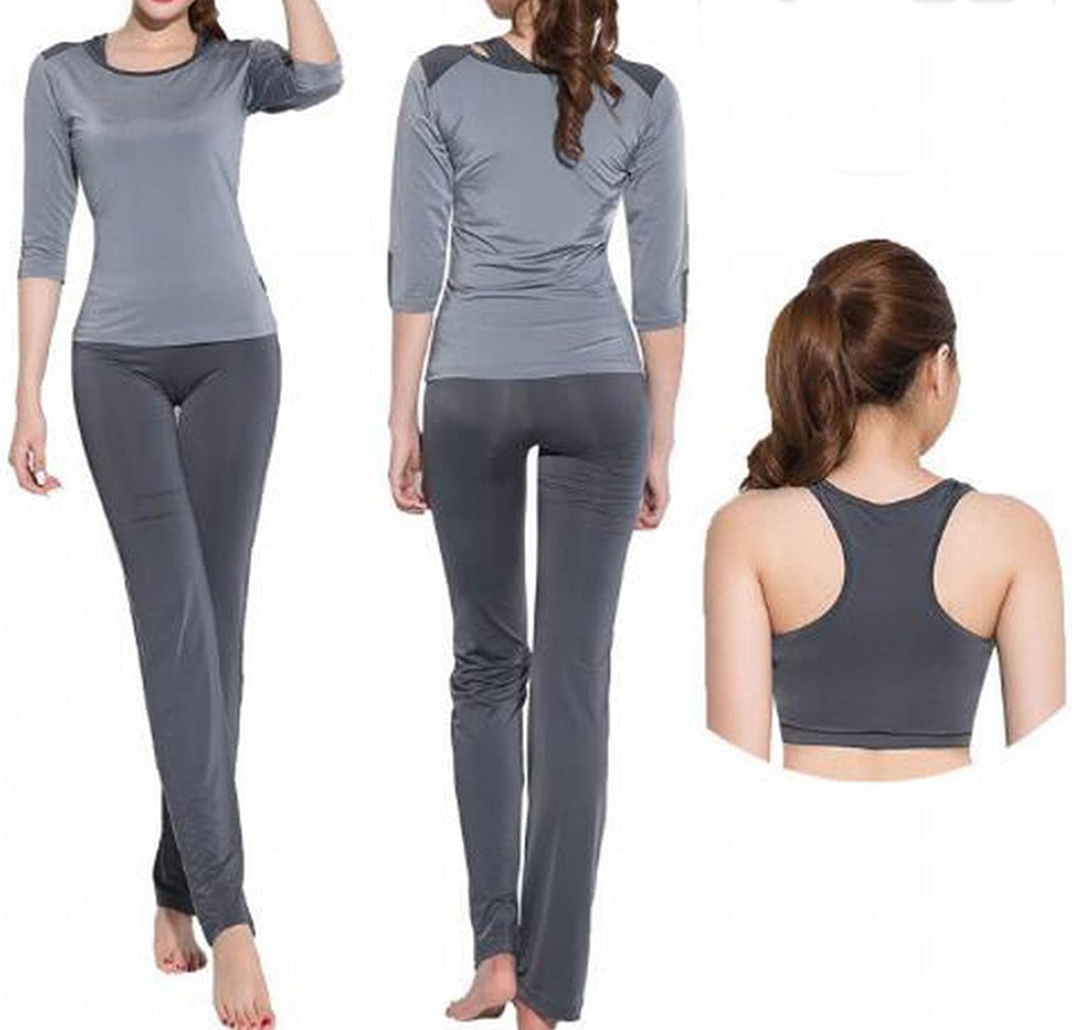 Yoga Clothing Sports Suit Female SevenPoint Sleeve ThreePiece Running Speed Dry Sweat Breathable Fitness Clothing CWJ