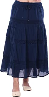 Coton Skirt with Four Tiers and lace Blue