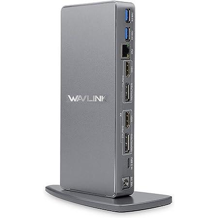 WAVLINK Ultra HD/5K USB 3.0 & USB C Universal Docking Station, 2 x 5k Display Port DP Puerto,2 x 4k HDMI, Gigabit Ethernet, Puerto Audio+Micrófono,4 Puertos USB 3.0, 2 Puertos USB C, Cables USB 3.0/C