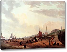 """Fisherfolk and Townsfolk On Scheveningen Beach in The Afternoon by Jzn Couwenberg - 18"""" x 24"""" Gallery Wrap Canvas Art Print - Ready to Hang"""