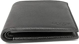 COACH Compact ID Sport Calf Bifold Wallet in Black 74991