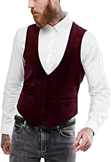 Suxiaoxi Men's Vintage Velvet Tuxedo Vest Business Waistcoat