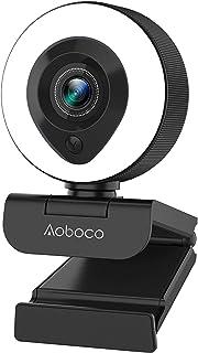 Aoboco webカメラ PCカメラ ウェブカメラ フルHD1080p 高画質 リングライト付き H.264 オートフォーカス マイク内蔵 美顔機能 背景変更 ビデオ通話 オンライン会議 使いやすさ windows mac 【令和2年最新版】...