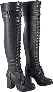 Ladies Knee High Laced Boots, Over the knee boots for women. High-Rise Leather Boots with Calf Buckle, Black